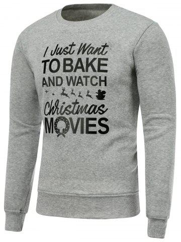 Outfit Crew Neck Long Sleeve Christmas Graphic Print Sweatshirt GRAY M