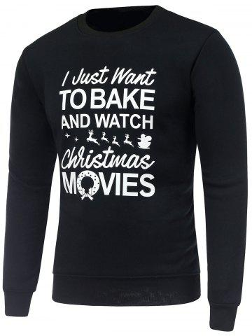 Fashion Crew Neck Long Sleeve Christmas Graphic Print Sweatshirt - M BLACK Mobile