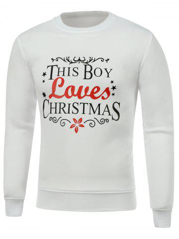 Cheap Crew Neck Long Sleeve Christmas Graphic Sweatshirt - M WHITE Mobile