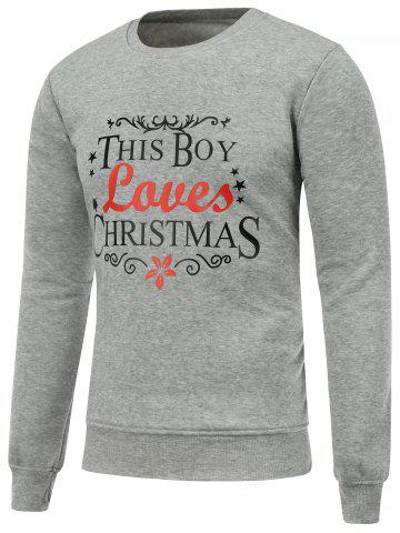 Hot Crew Neck Long Sleeve Christmas Graphic Sweatshirt GRAY M