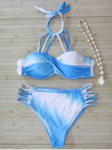 Discount Color Block Halter Cut Out Bikini Set