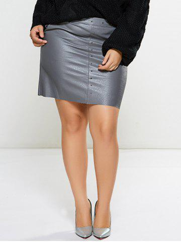 Fancy Embellished Faux Leather Skirt