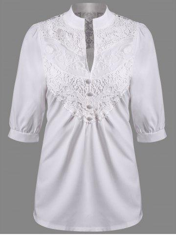 Buy V Neck Lace Panel Blouse