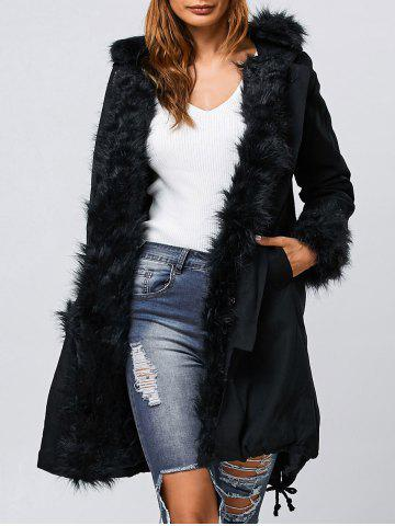 Buy Faux Fur Hooded Parka Long Winter Jacket BLACK 2XL