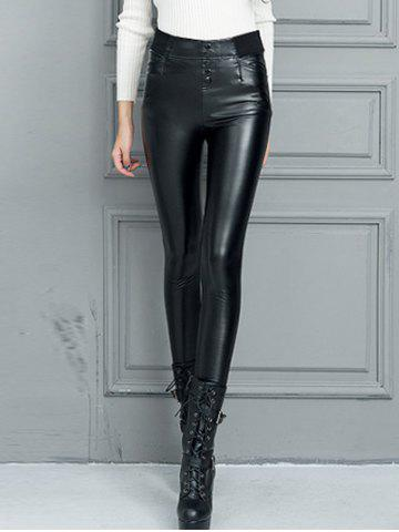 Hot Faux Leather High Waisted Skinny Pants BLACK 2XL