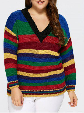 Cheap V neck Striped Sweater COLORMIX ONE SIZE