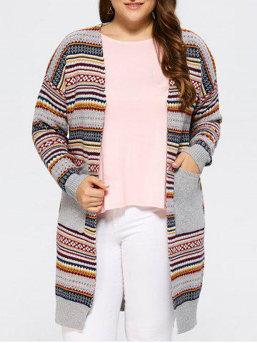 Sale Open Front Knit Striped Cardigan GRAY ONE SIZE
