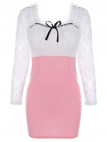 Affordable Lace Insert Backless Bodycon Dress