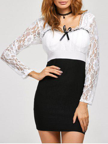 Hot Lace Insert Backless Bodycon Dress BLACK M