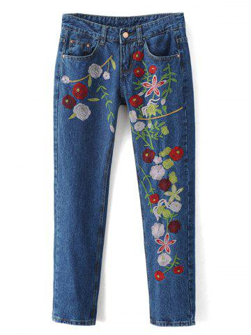 Latest Embroidered Cigarette Jeans DENIM BLUE XL