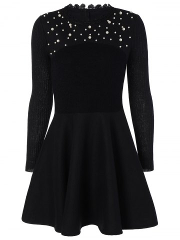Affordable Long Sleeve Embellished Flat and Flare Modest Dress