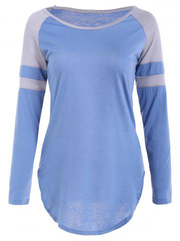 Discount Raglan Sleeve Asymmetrical Striped T-Shirt BLUE XL
