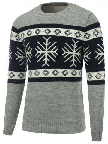 Discount Snowflake Crew Neck Christmas Sweater GRAY XL