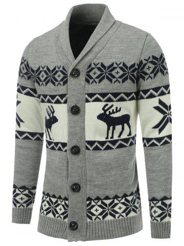 Chic Button Front Reindeer Snowflake Christmas Cardigan GRAY XL