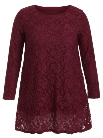 Hollow Out Long Sleeve Mini Lace Dress - Burgundy - 3xl
