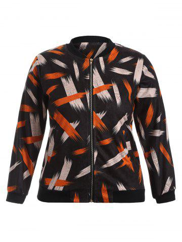 Trendy Graffiti Print Stand Collar Bomber Jacket