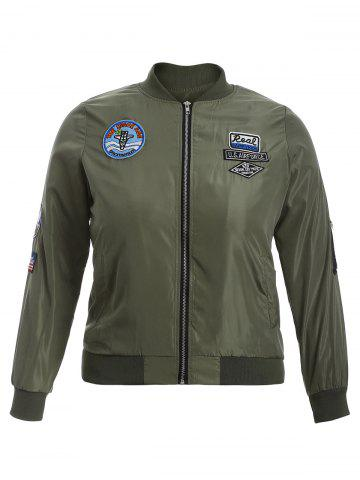 Shops Badge Design Zip Up Bomber Jacket ARMY GREEN 5XL