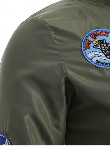 Unique Badge Design Zip Up Bomber Jacket - 3XL ARMY GREEN Mobile