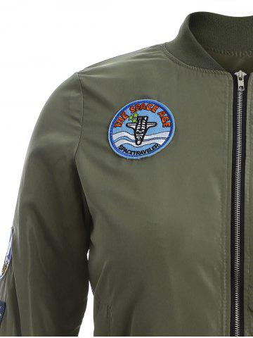 Buy Badge Design Zip Up Bomber Jacket - 3XL ARMY GREEN Mobile