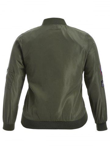 Store Badge Design Zip Up Bomber Jacket - 3XL ARMY GREEN Mobile