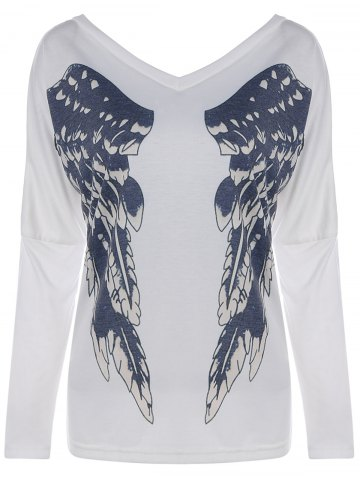 Fancy Wings Printing V Neck Long Sleeve Tee WHITE XL