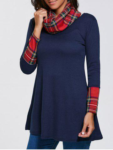 Outfits Plaid Insert Slimming Tunic Tee with Neckerchief DEEP BLUE XL