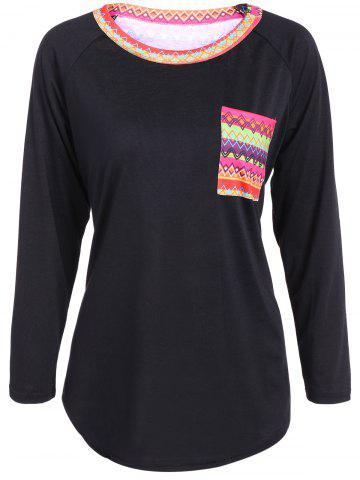 New Front Pocket Geometric Pattern Tee BLACK XL