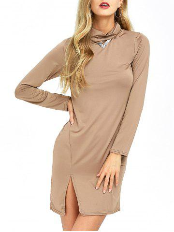 Outfit Cowl Neck Slit Slimming Long Sleeve Day Dress KHAKI XL