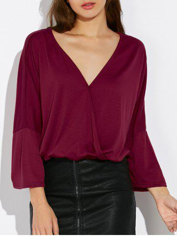 Outfits V Neck Dolman Sleeve Wrap Tee