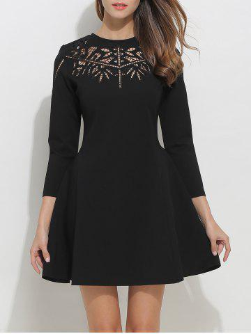 Best Openwork Long Sleeve Fit and Flare Skater Dress BLACK XL