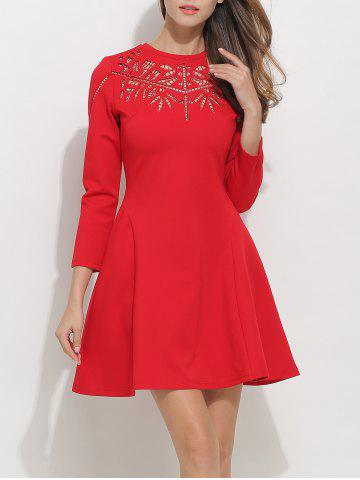 Unique Openwork Long Sleeve Fit and Flare Skater Dress RED M