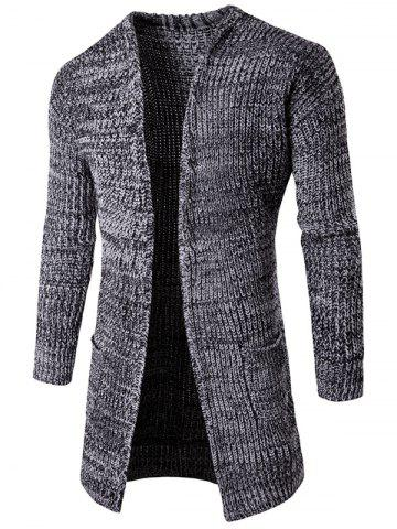 Pocket Flat Knitted Open Front Cardigan - Light Gray - Xl