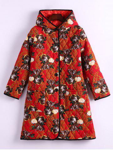 Online Flower Print Hooded Padded Coat