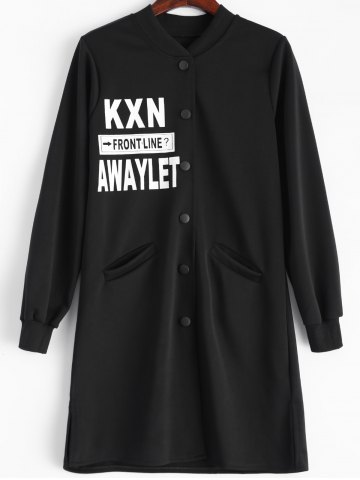 Outfits Letter Graphic Button Up Longline Coat