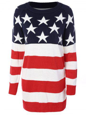 Flag Patterned Crew Neck Tunic Sweater