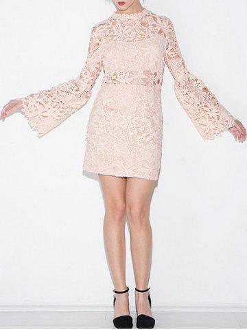 Best Lace Crochet Flare Sleeve Mini Dress
