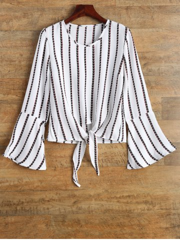 Unique Bell Sleeve Tied Striped Top