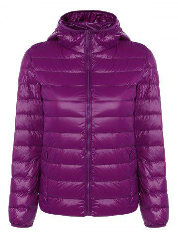 Unique Zip Up Padded Down Jacket with Hood