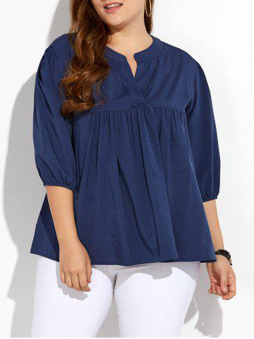 Plus Size Pleated Blouse - Deep Blue - 2xl
