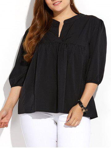 Plus Size Pleated Blouse - Black - Xl