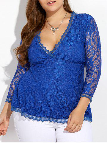 Buy Wave Hem Plunging Lace Blouse BLUE 5XL