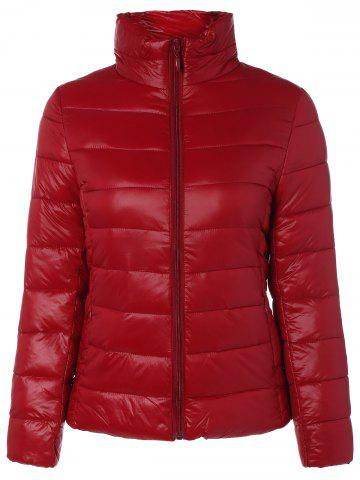 Sale Zip Up Stand Collar Thin Quilted Jacket RED 3XL