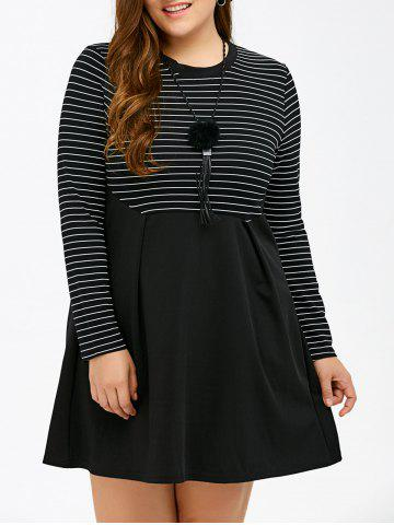 Store Long Sleeve Patchwork Striped Plus Size Dress