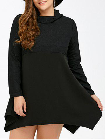 Fancy Long Sleeve Asymmetrical Plus Size Handkerchief Dress BLACK 5XL