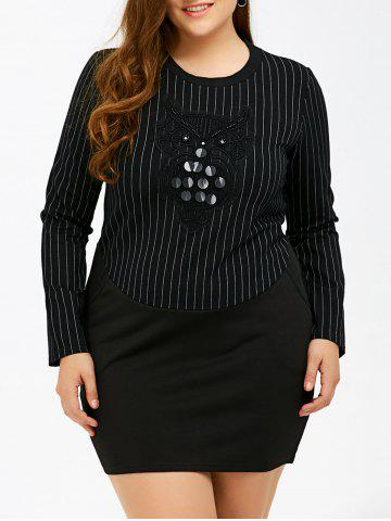 Outfit Long Sleeve Embellished Plus Size Bodycon Dress BLACK 4XL