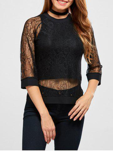 Fashion Semi Sheer Patchwork Lace Blouse