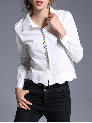 Online Wave Hem Embroidery Cropped Shirt WHITE XL
