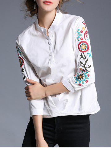 Cheap Pullover Stand Collar Embroidery Shirt