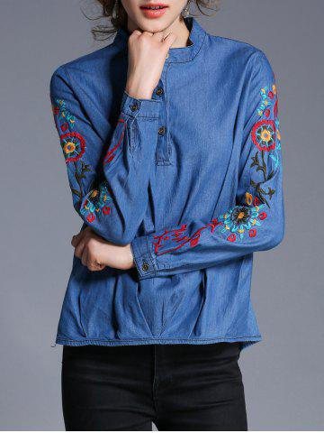 Affordable Embroidery Pullover Denim Shirt BLUE XL