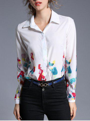 Unique Flower Printed Chiffon Shirt
